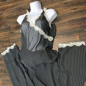 Pinstripe pajama set with lace